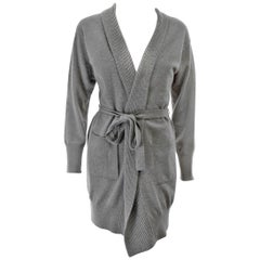 La Perla Grey Long Cardigan Sweater W/ Sash