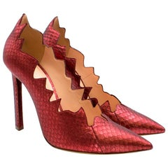 La Perla Red Snake Skin Court Pumps 38