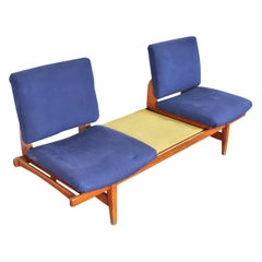 La Permanente Mobili Cantù Yellow and Blue Modular Two-Seat Bench Sofa, 1960s