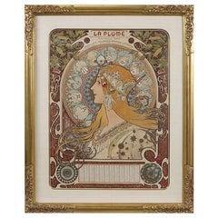 """La Plume-Zodiac"" French Art Nouveau Lithograph by Alphonse Mucha"