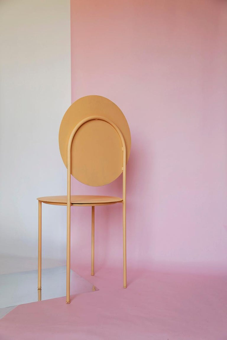 Modern La Prima Dining or Side Chair in Powder-Coated Peach Lacquered Galvanized Steel For Sale
