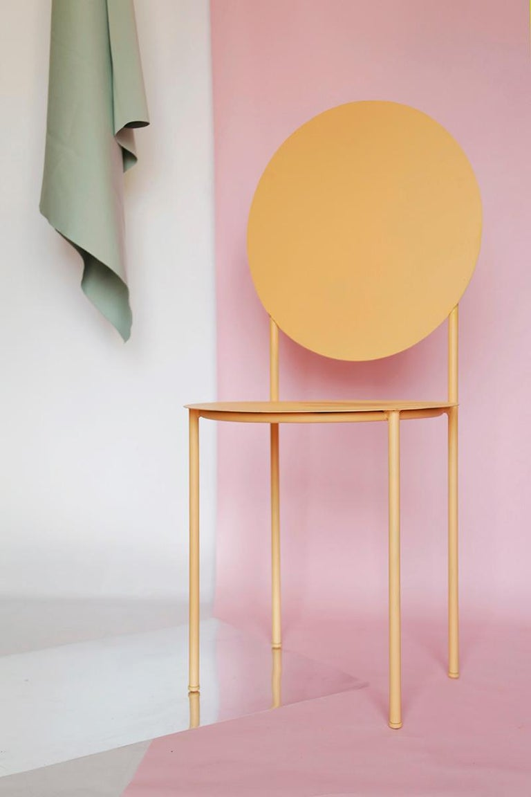 La Prima Dining or Side Chair in Powder-Coated Peach Lacquered Galvanized Steel In New Condition For Sale In Brooklyn, NY