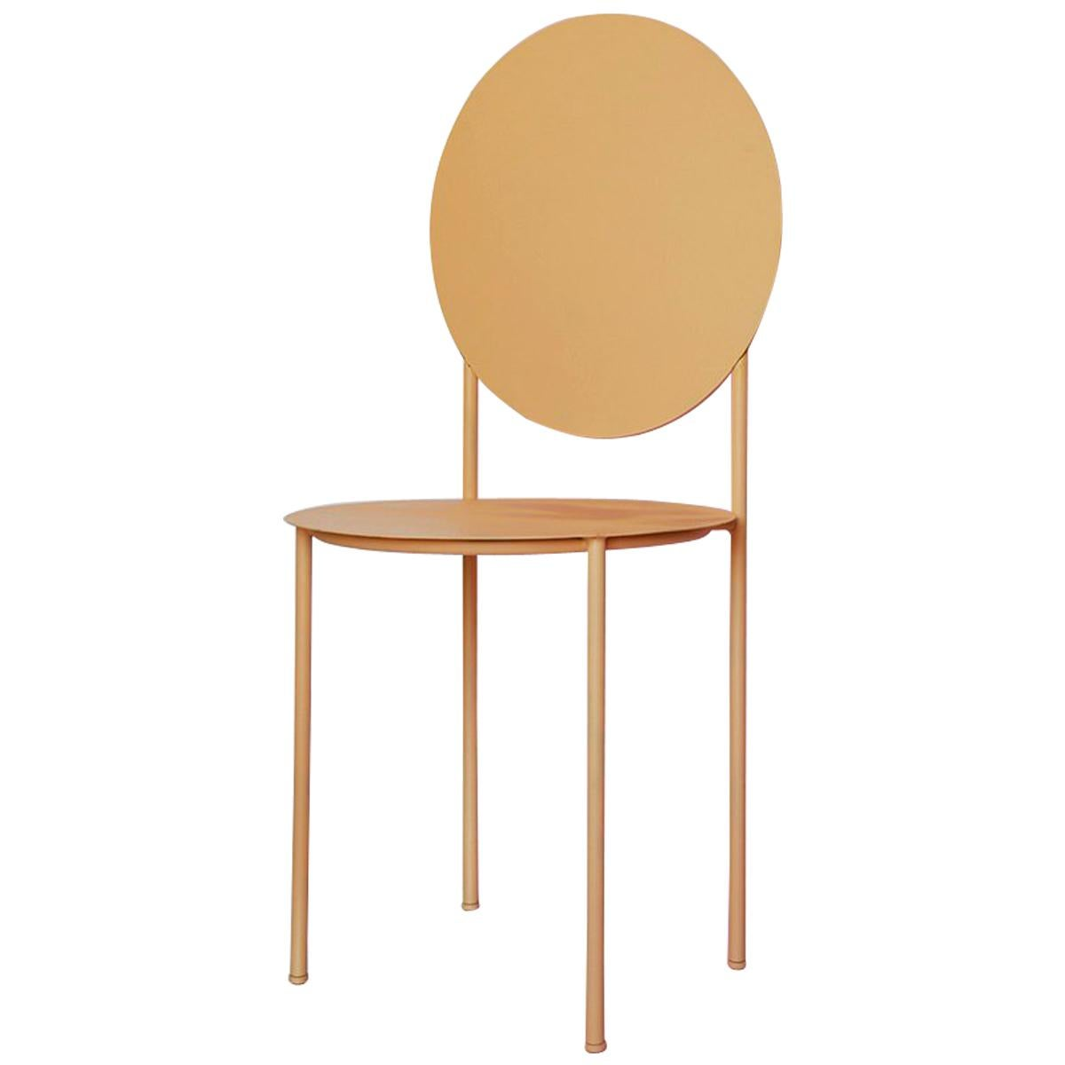 La Prima Dining or Side Chair in Powder-Coated Peach Lacquered Galvanized Steel