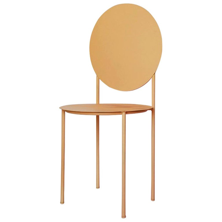 La Prima Dining or Side Chair in Powder-Coated Peach Lacquered Galvanized Steel For Sale