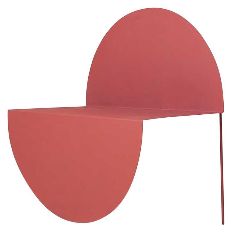 La Redonda Steel Accent Chair in Matte Lacquered Dark Rose