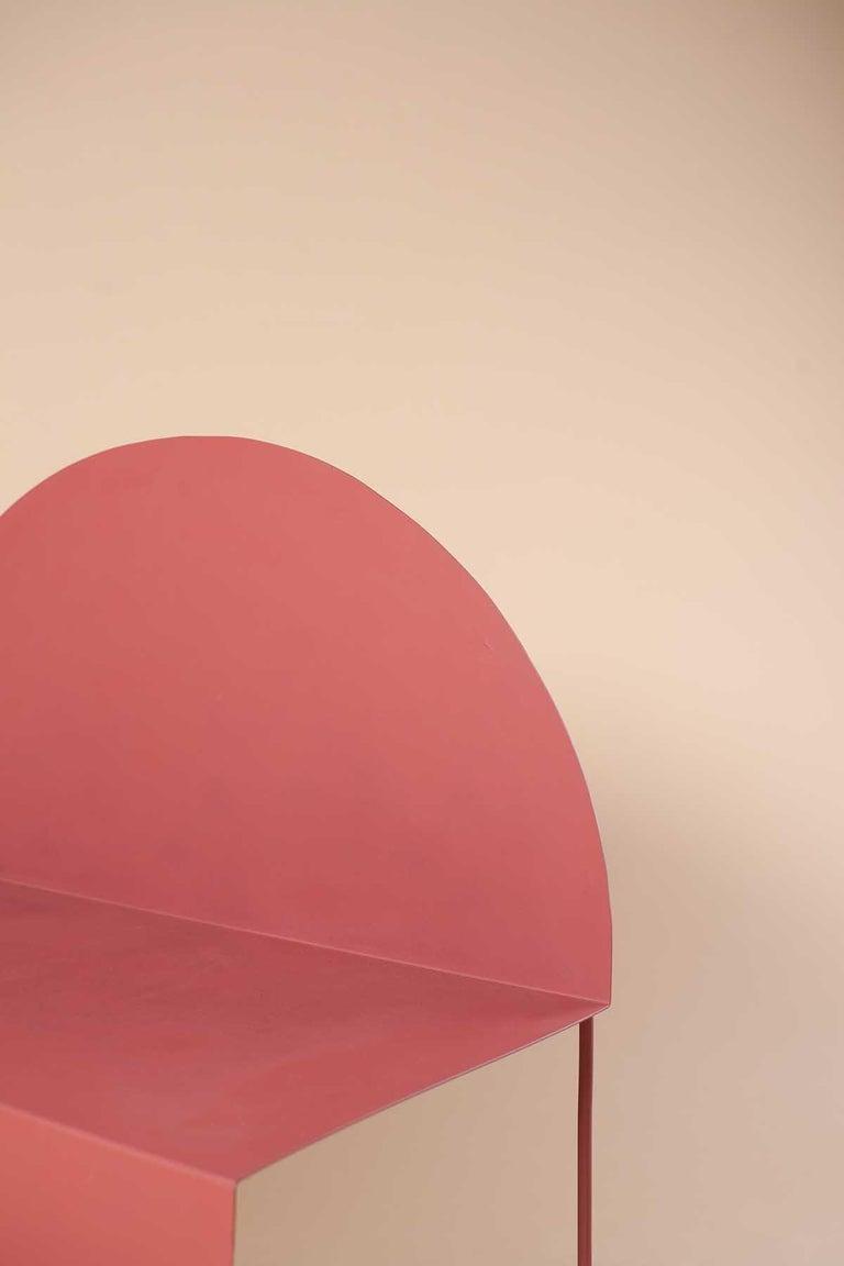 La Redonda Steel Accent Chair in Matte Lacquered Oak Brown For Sale 4
