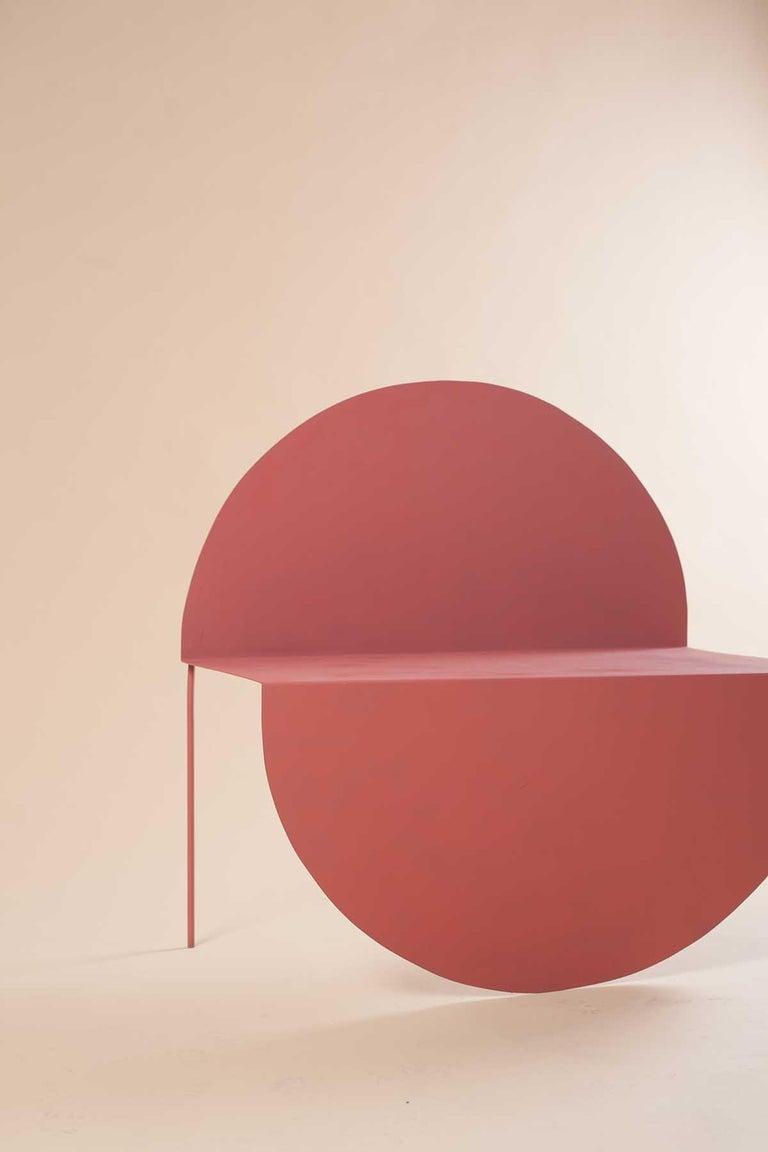 La Redonda Steel Accent Chair in Matte Lacquered Oak Brown For Sale 5