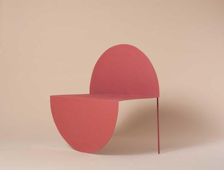 Modern La Redonda Steel Accent Chair in Matte Lacquered Oak Brown For Sale