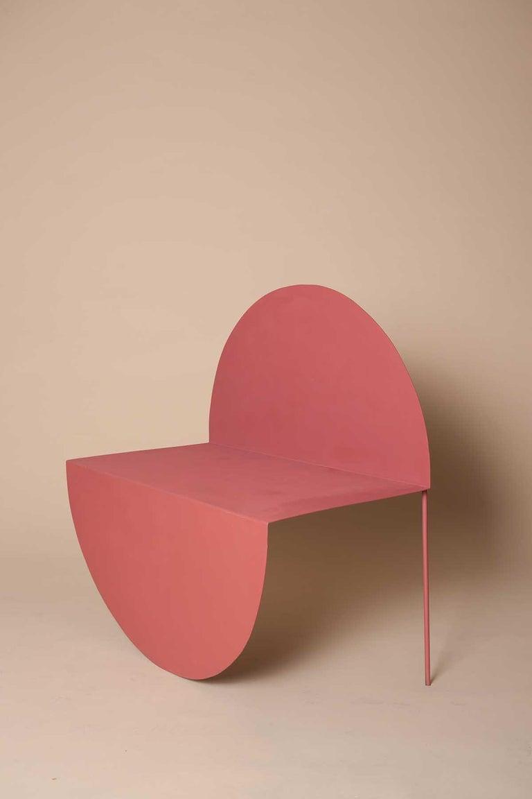 Spanish La Redonda Steel Accent Chair in Matte Lacquered Oak Brown For Sale