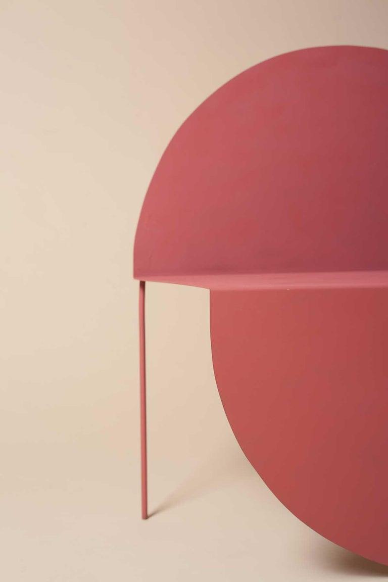 Contemporary La Redonda Steel Accent Chair in Matte Lacquered Oak Brown For Sale