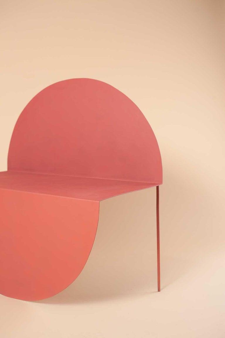 La Redonda Steel Accent Chair in Matte Lacquered Oak Brown For Sale 1