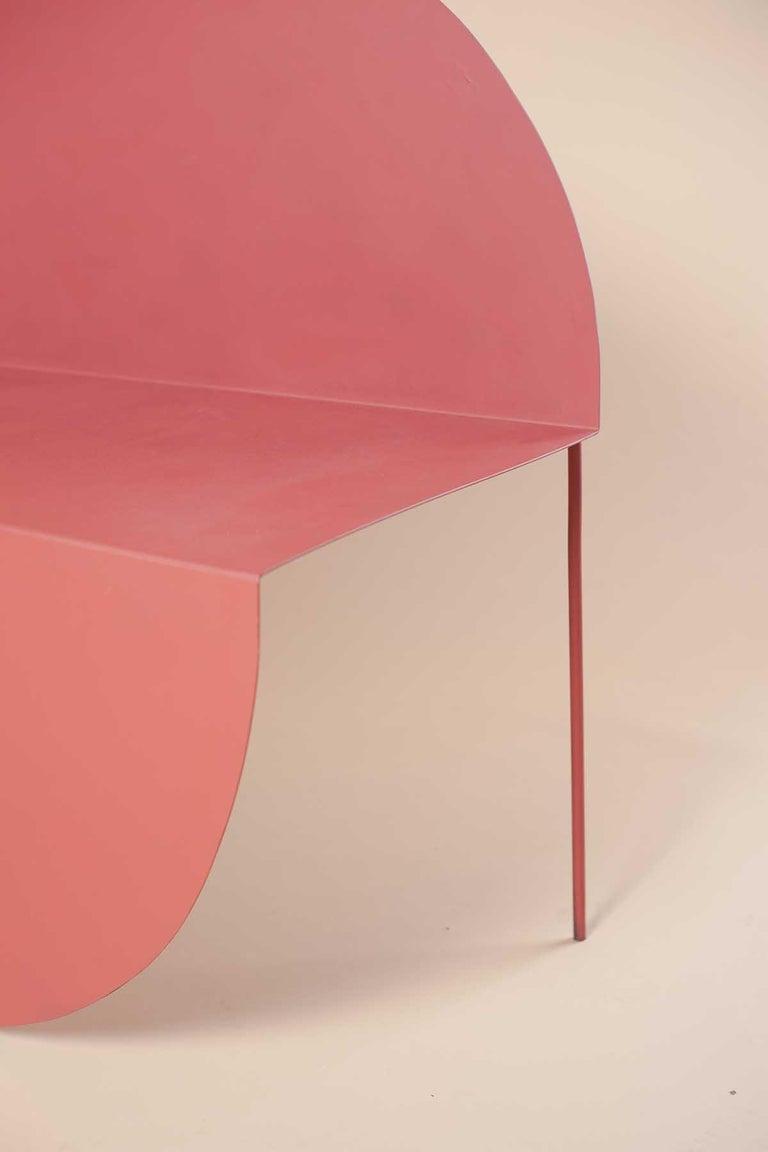 La Redonda Steel Accent Chair in Matte Lacquered Oak Brown For Sale 2