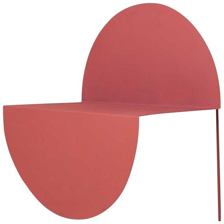 La Redonda Steel Accent Chair in Matte Lacquered Oak Brown For Sale