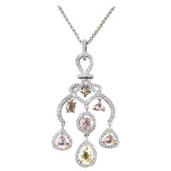 La Reina Collection Pink, White and Yellow Diamond Pendant Necklace