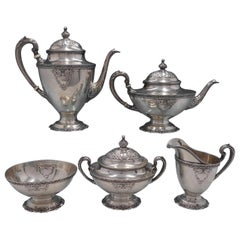 La Reine by Wallace Rare Sterling Silver 5-Piece Tea Set Marked #4500