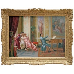 """La Romanza Preferita"" Vittorio Reggianini, Signed Oil on Canvas"