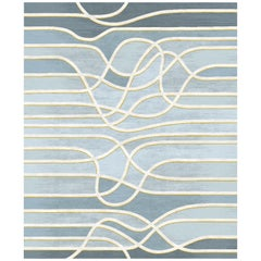 La Seine Au Crepuscule Hand-Knotted Wool and Silk 9 x 12ft Rug