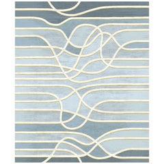 La Seine Au Crepuscule - Striped Blue Hand Knotted Wool Silk Rug