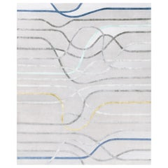 La Seine l'Apres-Midi - Striped Colorful Hand Knotted Wool Silk Rug