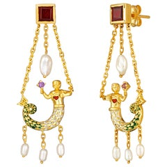 La Sirene Earrings, 18 Karat Yellow Gold with Enamel, Amethyst, Garnet, Pearl