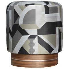 La Sorellina, Small Pouf in Hermes Fabric on Stained Oak Base with Steel Decor
