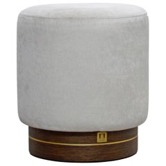 La Sorellina, Small White Pouf in Velvet on Stained Oak Base with Steel Décor
