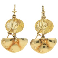 'La Squadra' Citrine Snake Earrings Set in 18 Karat Yellow Gold