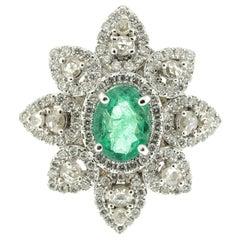 """""""La Stella"""" White Diamond and Emerald Ring in 18 Carat White Gold"""