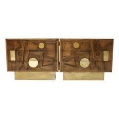 L.A. STUDIO designed Brass and Oak Wood Brutalism Italian Sideboard
