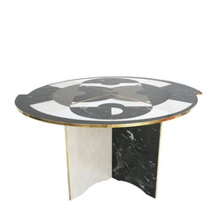 L.A. Studio Circular Marble and Brass Italian Table