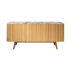 L.A. Studio Contemporary Modern Linden and Lemongrass Wood Sideboard