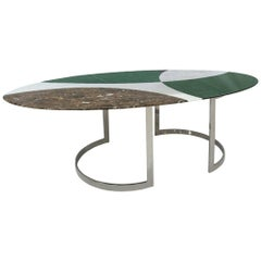 L.A. Studio Contemporary Modern Marble and Steel Italian Dining Table