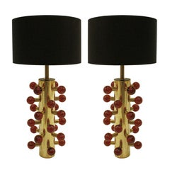 L.A. Studio Contemporary Modern Murano Glass and Brass Pair of Table Lamps