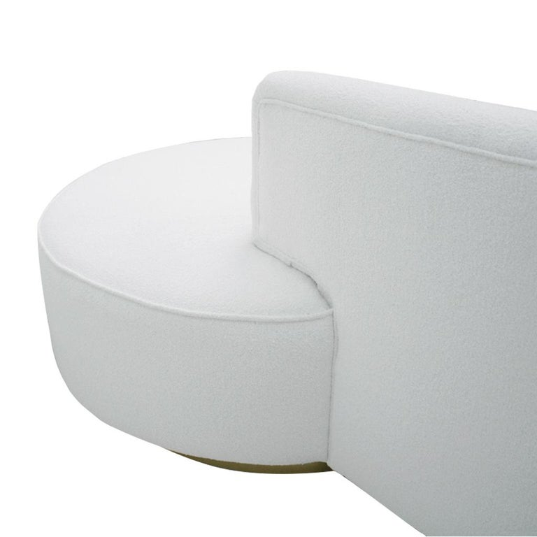 Swell L A Studio Contemporary Modern White Boucle Wool Upholster Italian Curved Sofa Gmtry Best Dining Table And Chair Ideas Images Gmtryco