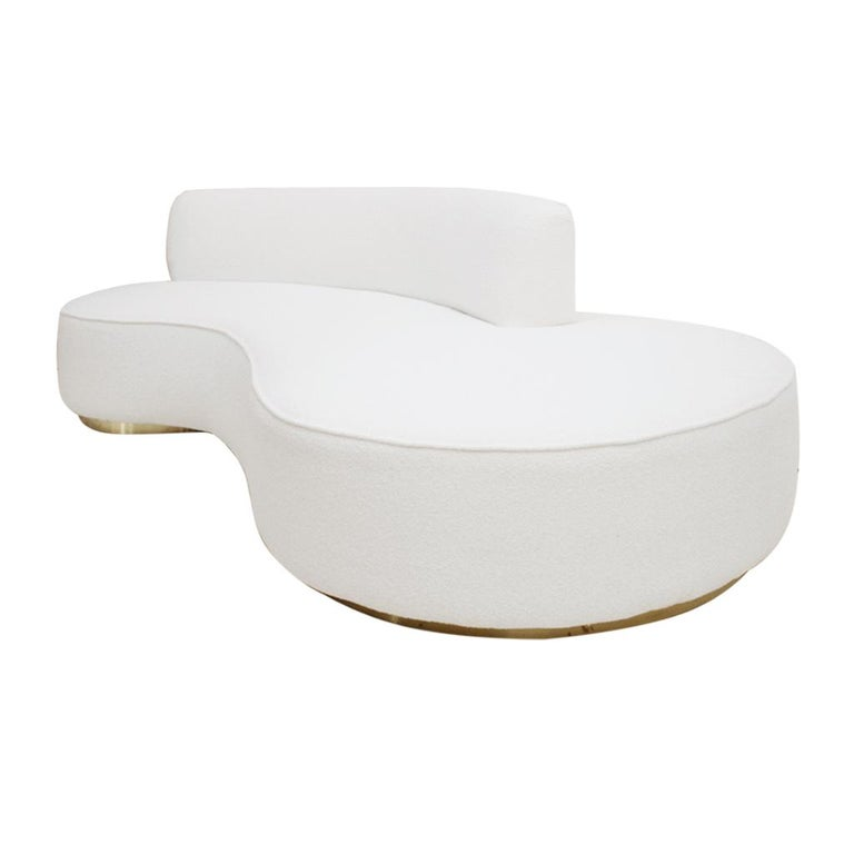 Excellent L A Studio Contemporary Modern White Boucle Wool Upholster Italian Curved Sofa Gmtry Best Dining Table And Chair Ideas Images Gmtryco
