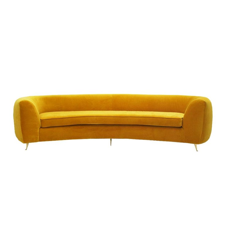 L A Studio Curved Yellow Sofa Of Six Seat Manufactured In Italy For