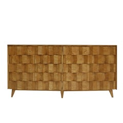 L.A. Studio Faceted Sideboard Made in Solid Oak Wood with Six Legs, Italy