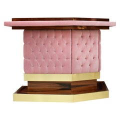 L.A. Studio Interiorismo Solid Wood and Cotton Velvet Upholstered Bar Counter