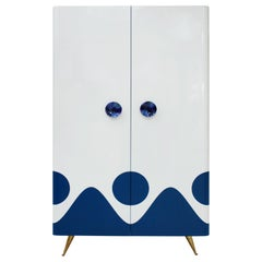 L.A. Studio Lacquered White Wood Paolo De Poli Handles Italian Drinks Cabinet