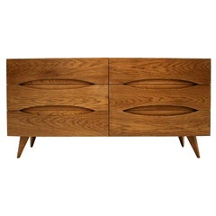 L.A. Studio Mid-Century Modern Style Walnut Wood Italian Six Drawers Sideboard
