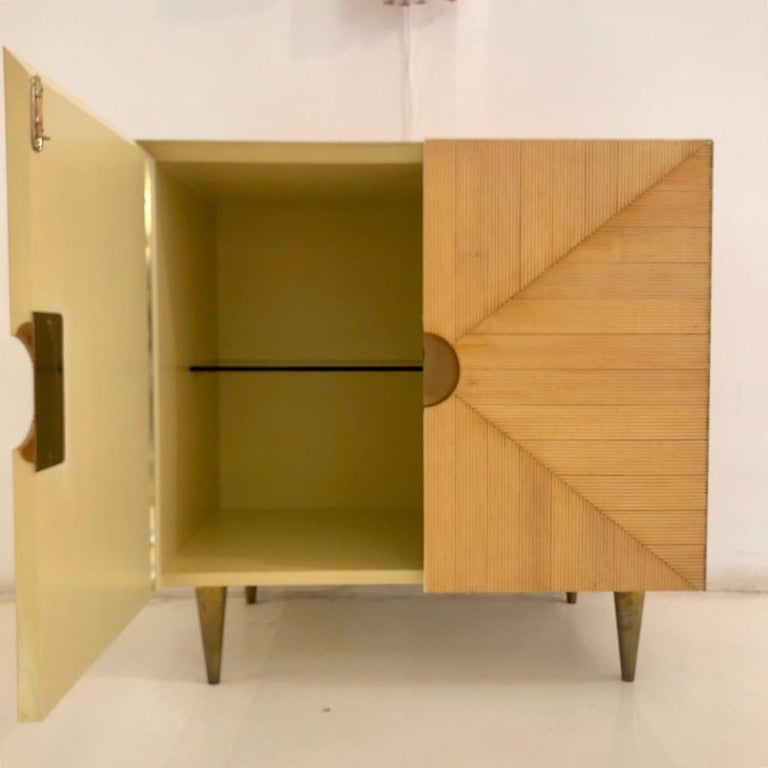 L.A. Studio Midcentury Style Ashwood and Brass Pair of Italian Sideboards For Sale 4
