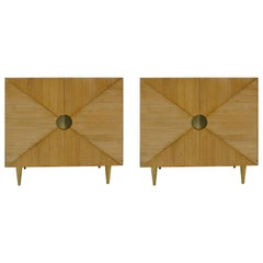 L.A. Studio Midcentury Style Ashwood and Brass Pair of Italian Sideboards