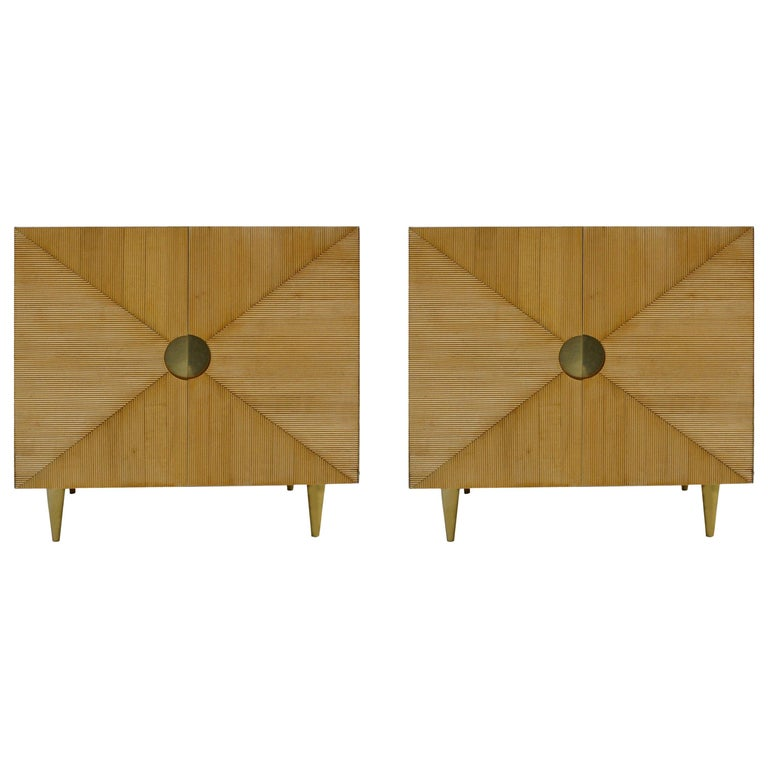 L.A. Studio Midcentury Style Ashwood and Brass Pair of Italian Sideboards For Sale
