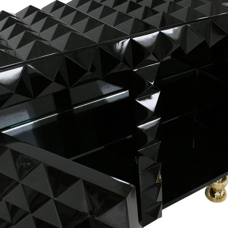 Contemporary L.A. Studio Modern Black Lacquered Pair of Italian Sideboards For Sale