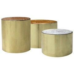 L.A. Studio Modern Brass and Marble Set of Three Italian Side Tables