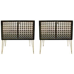 L.A. Studio Modern Solid Wood and Murano Glass Pair of Italian Commodes