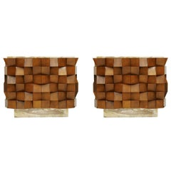 L.A. Studio Pair of Birch Wood and Siena Marble Stone Italian Sideboards