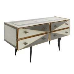 L.A. Studio Sideboard in Wood and Coated in Colored Glass