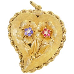 La Triomphe 14 Karat Gold Diamond Sapphire Ruby Floral Love Heart Photo Locket