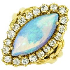 La Triomphe 18 Karat Gold 1.20 Carat Diamond Opal Cocktail Ring